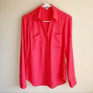 Express The Portofino Shirt Pink Career Blouse